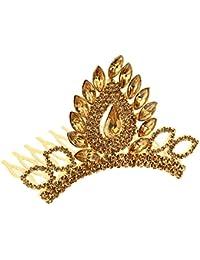 Sanjog Traditional Princess Pride Copper Color Rhinestone Kundan Crown Hair band/Hair Comb For Kids/Women