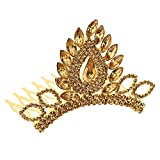 #8: Sanjog Traditional Princess Pride Copper Color Rhinestone Kundan Crown Hair band/Hair Comb For Kids/Women
