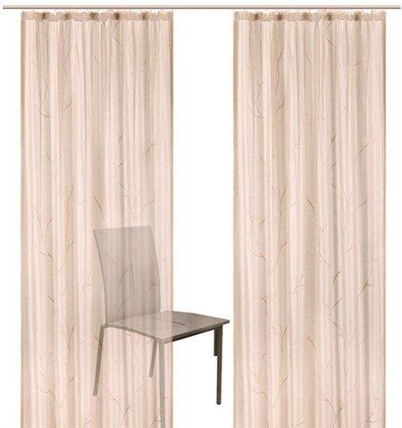 Halbtransparentes Gardinen Set »Mayotte« aus feinem Seidenoptik-Taft mit Ästemotiv mit Kräuselband (2 Stück) Größe 4: 245 x 140 cm in Creme