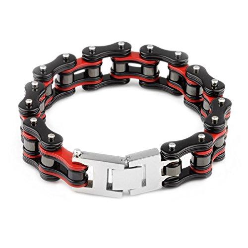 YSM Heavy-Duty-Armband-Motorrad-Stulpe-Armband-316L-Edelstahl-Männer Masculine Fahrrad-Kettenarmband mit Druckverschluss (rot + schwarz)