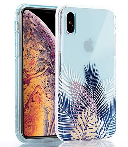 BASRKE transparente Schutzhülle mit glänzenden goldfarbenen und weißen Marmor [Fusion] Harte Rückseite aus weichem TPU Bumper mit erhöhtem Rand für iPhone XS MAX 2018 [6,5 Zoll], Palm Tree Leaves -