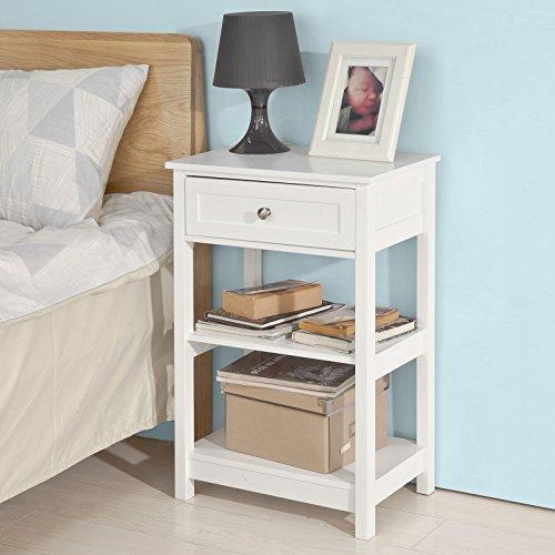 SoBuy® FBT46-W Beistelltisch Nachttisch Couchtisch in weiß mit einer Schublade und 2 Ablagen BHT ca: 45x68x30cm - 2