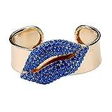 Moda populares Rhinestone Aleación Grandes Labios Azul Abierto Brazalete Pulsera