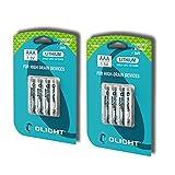 Olight® AA AAA Lithium Batterie hohe Kapazität und lange Haltbarkeit - 2er Pack, 2 oder 8 Stück