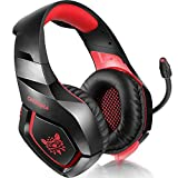 ONIKUMA PS4 Gaming Headset via Ear Stereo Gaming Headset with Noise Canceling Mic for Nintendo Switch PS4 Xbox One PC Laptop Smartphones - Black + Red