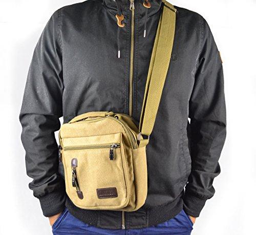 Y-DOUBLE Herren Vintage Umhängetasche Messenger Schultaschen Canvas Retro Tasche für Reisetasche Sport Reisetaschen Militär Lässige Reisetasche Strandtasche Schultertasche khaki