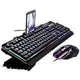 Bocon Verdrahtete Mechanisches Gaming Keyboard und Maus-Set QWERTZ RGB LED Windows MAC (G700 Metallplatte Spiele wettbewerbsfähig) Schwarz