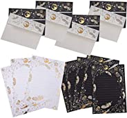NUOBESTY 8 Set Letter Writing Stationery Paper Bronzing Feather Lined Notes Paper Greeting Cards with Envelope