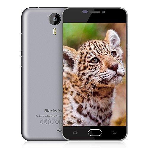 Cellulari in Offerta BlackView BV2000 Android 5,1 SIM Free Mobile Phones-5 pollici Grande Schermo-Doppia Fotocamera (8MP + 1MP)-MTK6735 Quad-Core-8GB ROM-2400mAh Batteria Telefoni Cellulari Fingerprint-Grigio