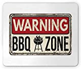 BBQ Party Mouse Pad, Grunge Warning BBQ Zone Sign Funny Meatlover Themed Illustration, Standard Size Rectangle Non-Slip Rubber Mousepad, Vermilion Black Eggshell 9.8 X 11.8 inch