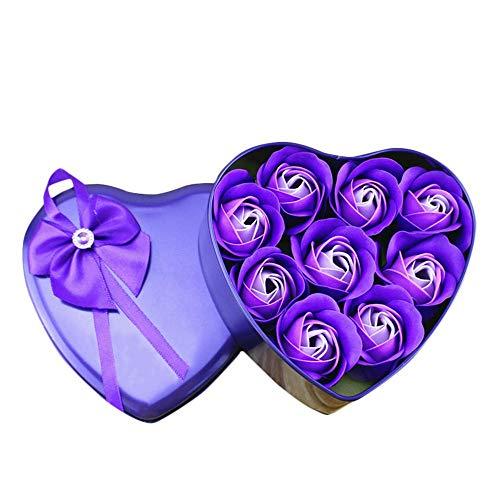 9 pezzi sapone fiore di rosa,sapone da bagno fiore di rosa,a forma di cuore sapone rosa scatola regalo fatto a mano regalo di san valentino nuovo anno compleanno regalo festa della mamma