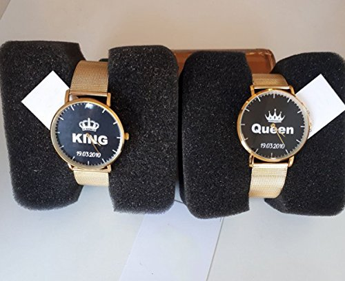 Paar Uhren Armbanduhr You and Me King & Queen Best, gold