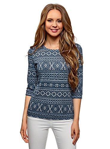oodji Ultra Damen Sweatshirt mit Rundem Ausschnitt und 3/4 Arm, Blau, DE 38 / EU 40 / M
