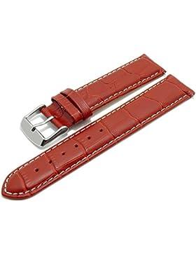 Meyhofer EASY-CLICK Uhrband Marseille 22mm rot Alligator-Prägung weiße Naht My2hesl3013