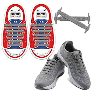 Homar Kids Shoe Laces No Tie Shoe Laces - Best in Alternative Shoelaces - Elastic Waterproof Dirtproof for Life Hackers, Kids, Elders, Handicap, Athletes - Grey