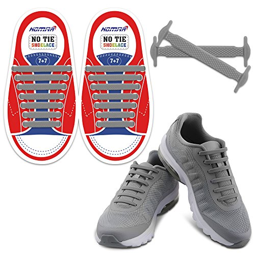 Homar No Tie Lacci per scarpe per bambini e adulti - Impermeabile in silicone elastico piatto Laces Athletic scarpa da corsa con multicolore per Scarpe Sneakerboots bordo e scarpe casual (Kid Size Gray)