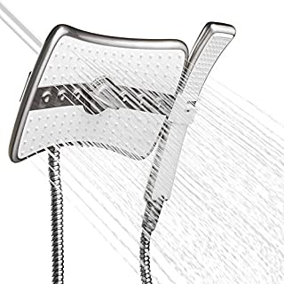 AKDY 9 Rectangular Quad Function Rainfall Jet Shower Head & Wand Combo In Titanium Silver by AKDY