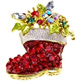 Gold-Toned Festive Christmas Boot Crystal Brooch Pin
