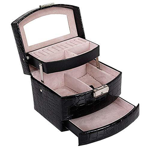 WOSHINIMA Automatische Schmuckschatulle dreistufige Aufbewahrungsbox weibliche Ohrringe kosmetische Aufbewahrungsbox dekorative schwarz