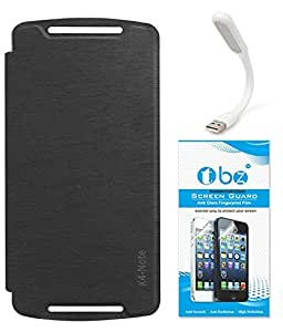 TBZ Flip Cover Case for Lenovo K4 Note with Flexible USB LED Light Lamp and Tempered Screen Guard -Black