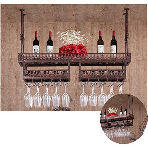 Decke Stilvolle Einfachheit Down Bottle Rack Vintage Schmiedeeisen Metall Invertiert Becher Rack Küche Besteck Flaschenhalter Bar Höhenverstellbar Schwimmende Decke Weinregal (Bronze 120 / 31Cm), HJ -