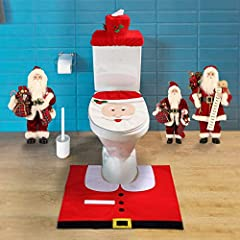 Idea Regalo - Mbuynow Zogin Insieme di 3 Decorazioni di Natale Babbo Sedile WC Coperchio e Tappeto & Scatola del Tessuto di Copertura Insieme