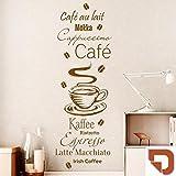 DESIGNSCAPE® Wandtattoo Kaffee Spezialitäten mit Kaffeebohnen: Café au lait, Mokka, Cappuccino, Ristretto, Espresso, Latte Macchiato, Irish Coffee 42 x 120 cm (Breite x Höhe) haselnuss DW803398-M-F12
