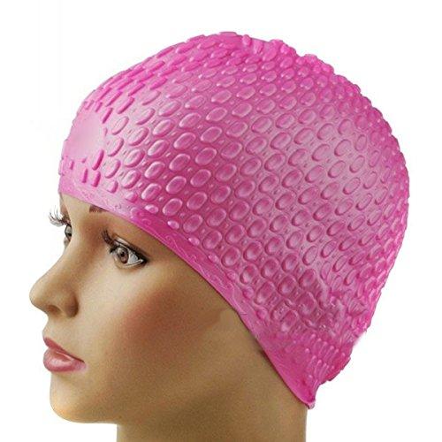 Fletion Erwachsene Unisex Silikon Schwimmen Cap,Lange Haare Wasserdichte Ohr Wrap Hut Badekappe Bademütze Badehaube für Männer und Frauen