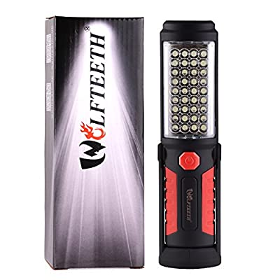 Wolfteeth 36+5 LED Torch Camping Light,Hands-Free Garage Work Light Flashlight for Auto,Garage,Emergencies,Workshop with Adjusting Stand, Hanging Hook and Magnet Base