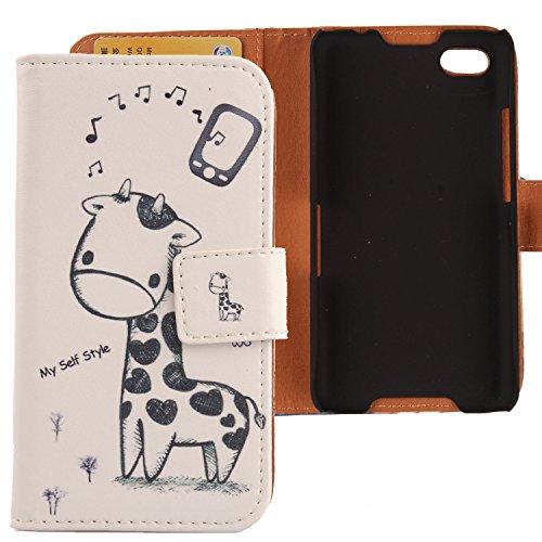 Lankashi PU Flip Leder Tasche Hülle Case Cover Handytasche Schutzhülle Etui Skin Für BlackBerry Z30 Giraffe Design