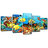 Cuadro sobre Lienzo HD Impreso Lienzo Arte Coral Mar Océano Color Peces Pintura Cartel Decoración para