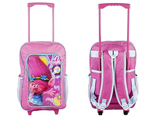 09c4fe90ae2a Dreamworks Trolls Children's Trolley Bag - Pink Luggage Bag & Back Pack -  With Pull-Out Trolley Handle & Adjustable Straps