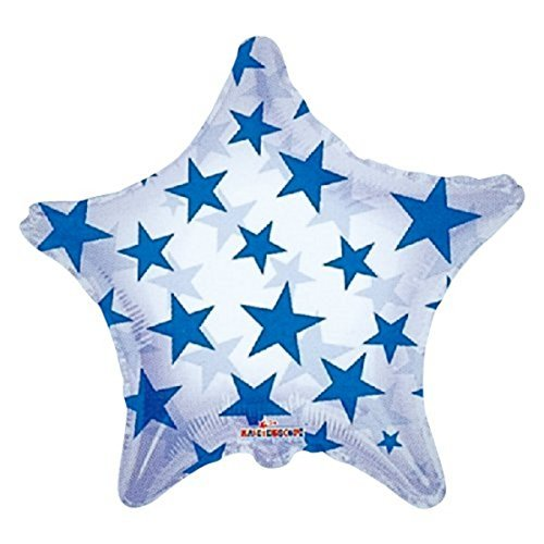22 Blue Pattern Star Clear View Balloon (1 ct) by Prairie Supply