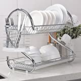 Heselian Best Commercial Rust Proof Kitchen In Sink Two Tier Dish Drying Rack, Chrome Dish Rack