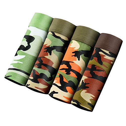 SWISSWELL 4er Pack Herren Unterhosen Micro Modal Seidenweich Boxershorts Men's Underwear Männer Hipster Modal Unterwäsche, Tarnung, EU-S/Herstellergröße-L