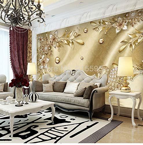 Zamle stile europeo di lusso dorato 3d gioielli fiore damasco modello sfondo decorazione murale carta da parati per soggiorno home decor, 400x280cm