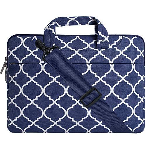 MOSISO Notebooktasche Kompatibel 15 Zoll Neu MacBook Pro mit Touch Bar A1990&A1707 2019 2018 2017 2016, 14 Zoll ThinkPad Chromebook, Canvas Geometrische Muster Sleeve Tasche, Navy Blau Quatrefoil -