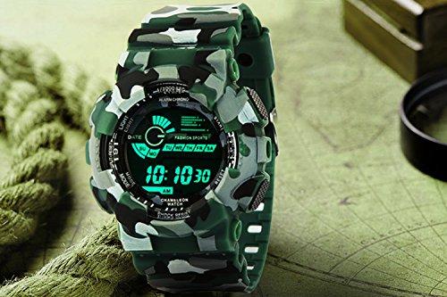 Addic Multicolor Dial Army Green Strap Digital sports Watch For Men's & Boys.