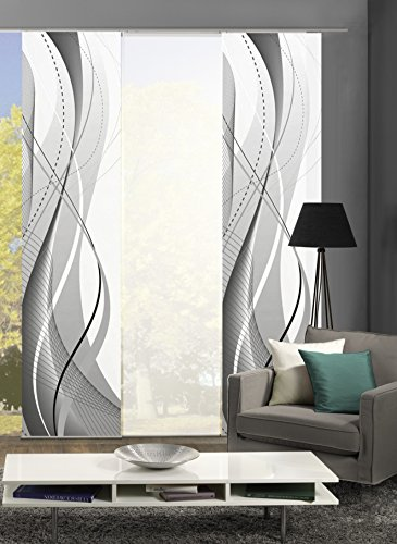 3er-Set Flächenvorhang   Deko blickdicht   WUXI   Höhe 245 cm   2x Dessin /1x uni transparent   Fb. grau/weiß