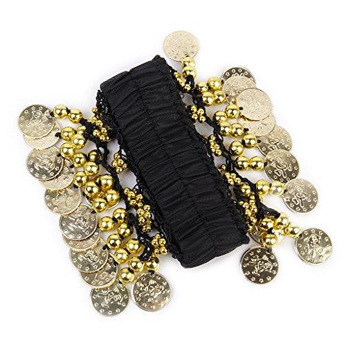 Arm-, Knöchel- und Fußgelenks-Manschette für Bauchtanz, mit 24 vergoldeten Münzen, Schwarz