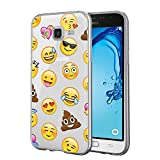 Funda Samsung Galaxy J3 2016, Eouine Cárcasa Silicona 3d Transparente con Dibujos Diseño Suave Gel TPU [Antigolpes] de Protector Bumper Case Cover Fundas para Movil Samsung Galaxy J3 2016 SM-J320F (Emoji)