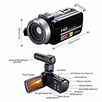 Camera Camcorders,camking Hdv-301m 1080p 16x Digital Zoom 3 Inch Touch Screen Lcd Video Camcorder With External Microphone 12