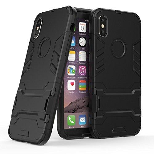 Apple iPhone X Hülle, Voguecase 2 in 1 Dual Layer Hybrid TPU + PC Harte Rück Abdeckung Stoßfest Protective Case Cover Built-in Kickstand (2 in 1 Bracket-Blau) + Gratis Universal Eingabestift 2 in 1 Bracket-Schwarz