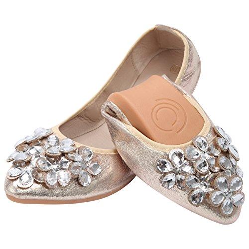 Qimaoo Damen Klassische Ballerina Geschlossene Glitzer Ballerinas Mokassin Slip-on Sommer Flache Schuhe mit Strass, Schwarz Silber und Gold,Gold,42 EU