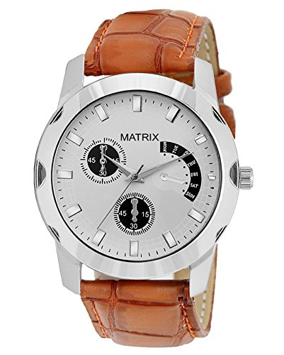 Matrix-Analog-Black-White-Dial-Brown-Leather-Strap-Wrist-Watch-For-Mens-Boys-WCH-248