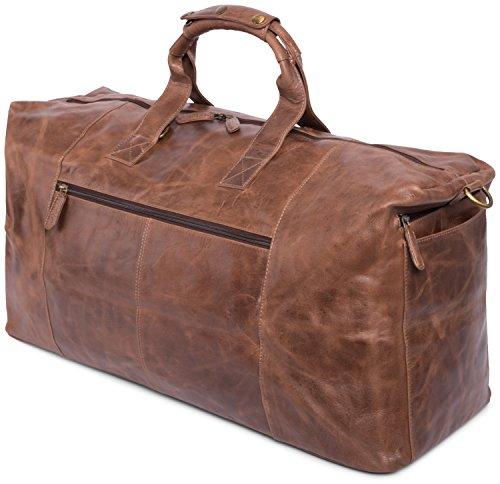 LEABAGS Sydney sac de voyage rétro-vintage en véritable cuir de buffle - SugarCane CrazyVinkat
