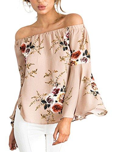 Minetom Femmes Eté Sexy Fleur Imprimé Col Bateau Trompette Manches Bustier Shirt en Mousseline Blouse Courte Chemisier Tops Café