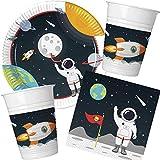 37-teiliges Partyset * Astronaut & Weltraum * mit Teller + Becher + Servietten + Deko | Kindergeburtstag Set Partygeschirr Deko Kinder Geburtstag Party Mottoparty Motto Luftballons All Alien