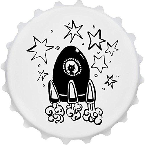 Azeeda 'Weltraum Rakete' Cap Förmiger Flaschenöffner Kühlschrankmagnet (BO00015747) (Cap-rakete)
