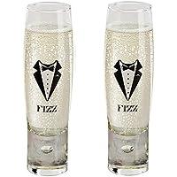 Durobor Alternato - Juego de 2 copas de champán sin tallo para hombre